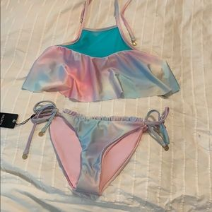 Wildfox holograph mermaid fairy high neck swimsuit